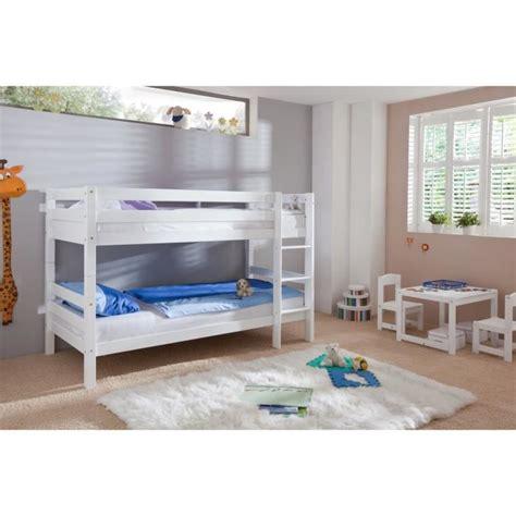 lit superpos 233 en bois h 234 tre massif coloris blanc achat vente lits superpos 233 s soldes