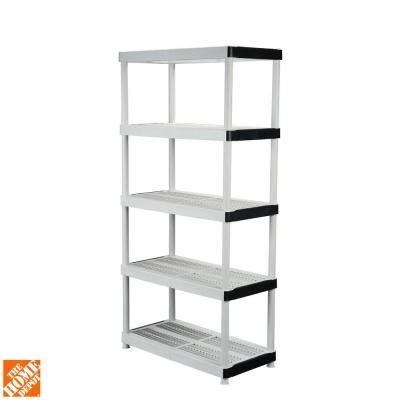 hdx 5 shelf 36 in w x 72 in h x 18 in d plastic ventilated storage shelving unit 127932 the