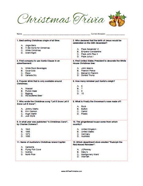 Christmas Trivia Game  Free Printable Allfreeprintablecom