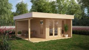 Gartenhaus Modernes Design : modernes gartenhaus mit terrasse hansa lounge 12m 44mm 5x5 hansagarten24 ~ Markanthonyermac.com Haus und Dekorationen
