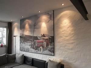 Maler Ideen Wohnzimmer : wandgestaltung mit grobem putz und wandbild oldtimer im schnee vom malerbetrieb acken van in ~ Markanthonyermac.com Haus und Dekorationen
