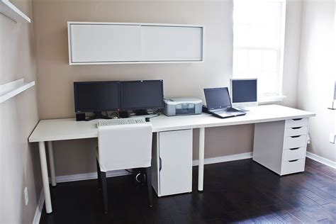 clean white computer desk setup from ikea linnmon adils with alex storage drawer minimalist