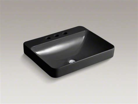 kohler vox r rectangle vessel above counter bathroom sink with widespread fauce contemporary
