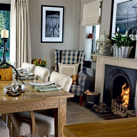 dining room with roaring step inside a cosy