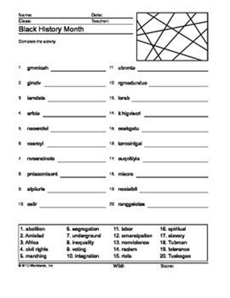 Black History Month Worksheets For 1st Grade  1000 Images About Black History Month On