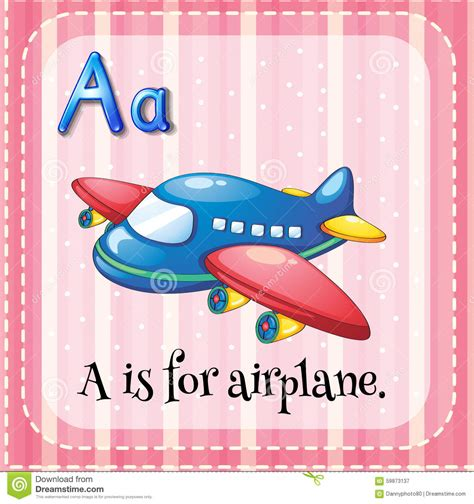 Flashcard Alphabet A Is For Airplane Stock Vector Image