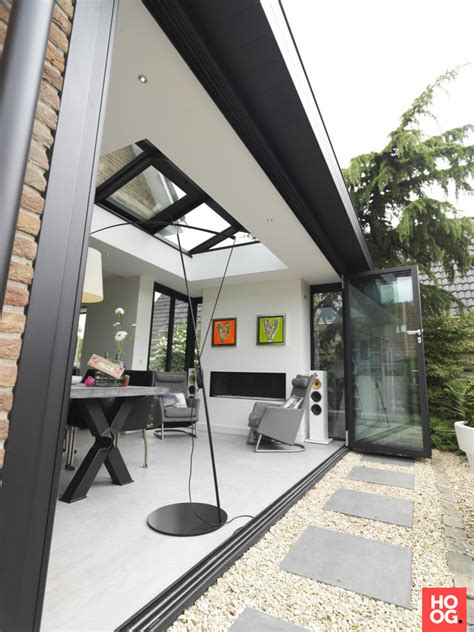 Moderne Serre Aanbouw Met Lichtstraat En Glazen Vouwwand