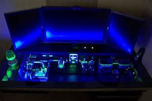 Magnificent Blue Ligting Gaming Computer Desktop Setup of ...