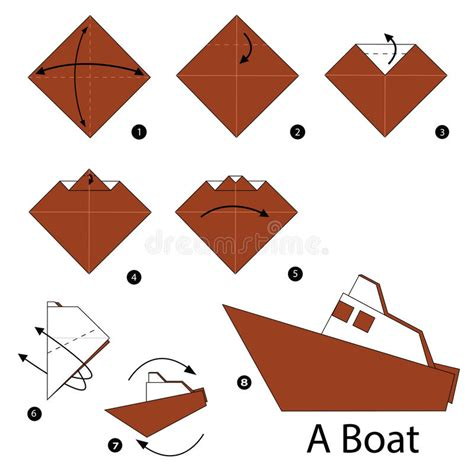 How To Make Paper Boat Download by Step By Step Instructions How To Make Origami Boat Stock