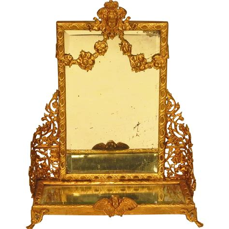 pier one dressing mirror antique gilt metal doll dollhouse dressing pier