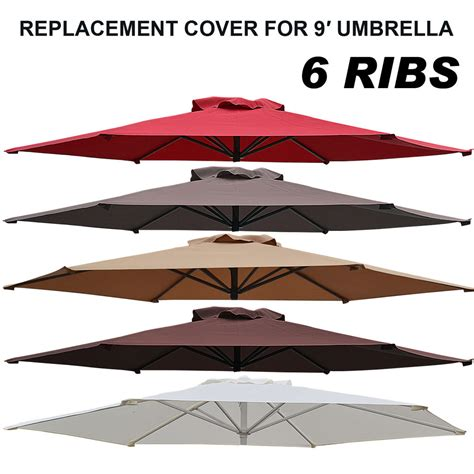Patio Umbrella Canopy Replacement 6 Ribs 8ft by 9ft Patio Umbrella Cover Canopy 6 Ribs Replacement Parasol