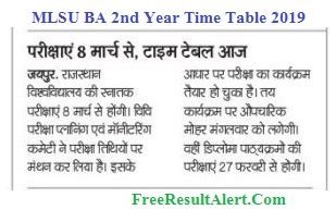 Mlsu Ba 2nd Year Time Table 2019 & Exam Date For Regular