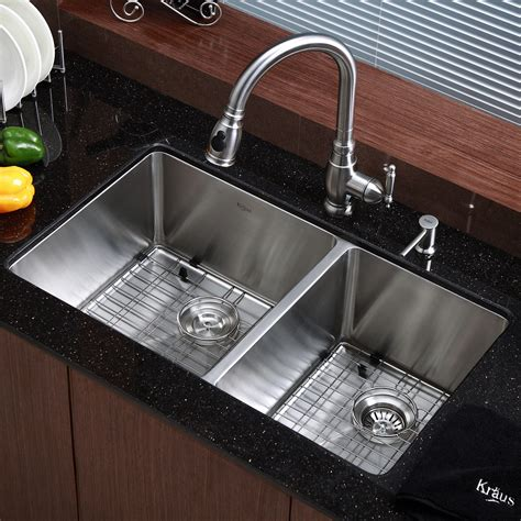 "Kraus Kitchen Sink 3275"" X 19"" Double Bowl Undermount"