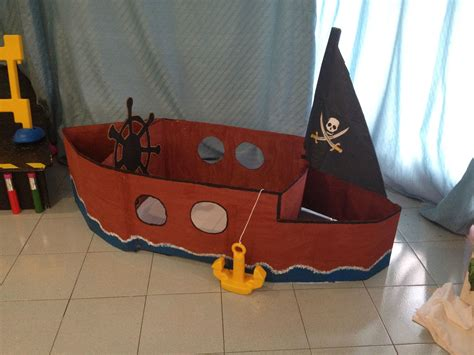 How To Make A Cardboard Boat With Only Duct Tape by A Pirate Boat Made Out Of Cardboard Carton As I Work Ed