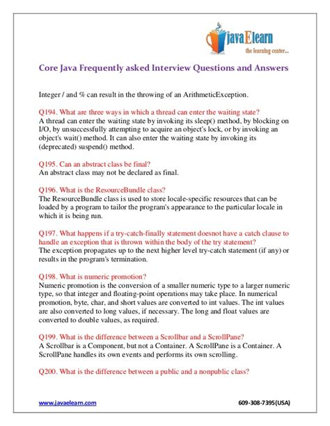 Core Java Frequently Asked Interview Questions And Answers