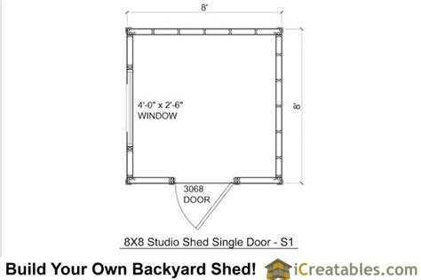 8x8 modern shed plans center door