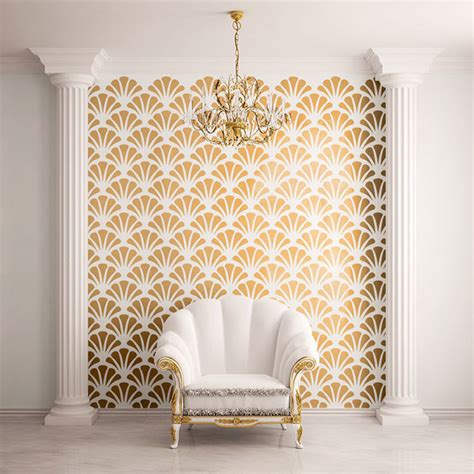 scallop shell pattern wall stencils contemporary wall stencils other metro by my