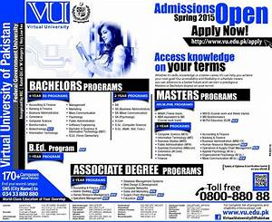 Virtual University Of Pakistan Admissions 2015 Form, Last Date