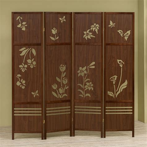 Shoji 4 Panel Room Dividers Wooden Floral Butterflies