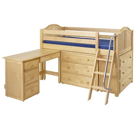 Low Loft Bed With Desk And Dresser by Kicks Low Loft Bed With Dressers And Desk