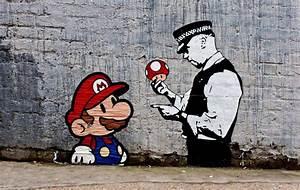 "Banksy, Super Mario, 8""x12"", Graffiti Art, Giclee Canvas ..."