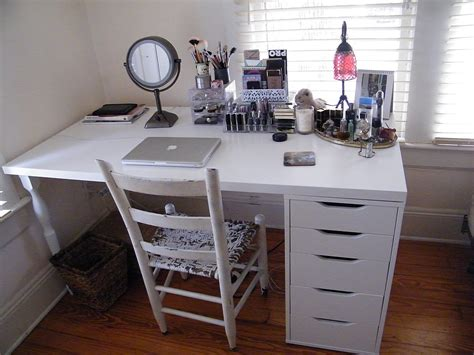 ikea makeup organization storage linnmon table top and alex drawer interiors design ideas