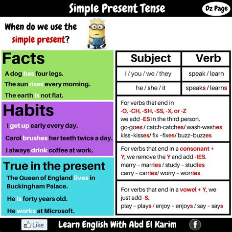 Simple Present Tense  Detailed Expressions  Vocabulary Home