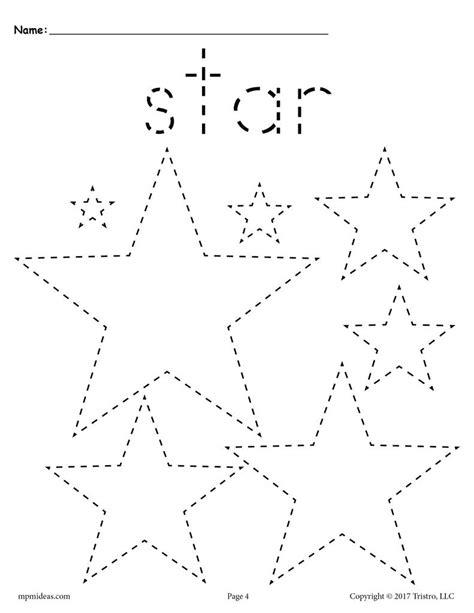 Free Stars Tracing Worksheet  Tracing Shapes Worksheets Supplyme