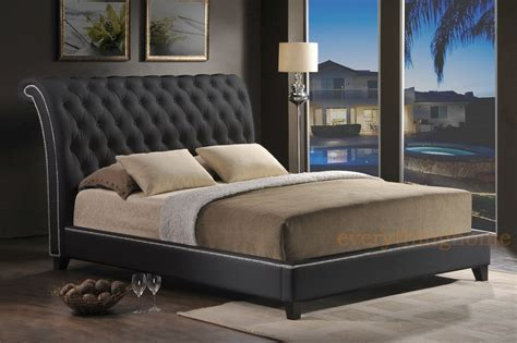 black faux leather tufted king platform bed scrollback headboard nail