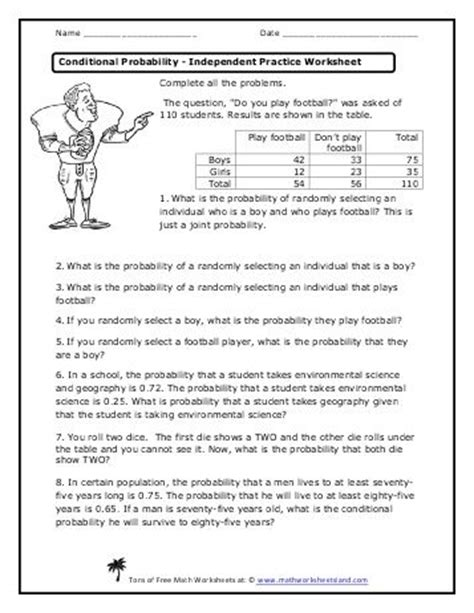Conditional Probability Independent Practice Worksheet  Math  Conditional Probability