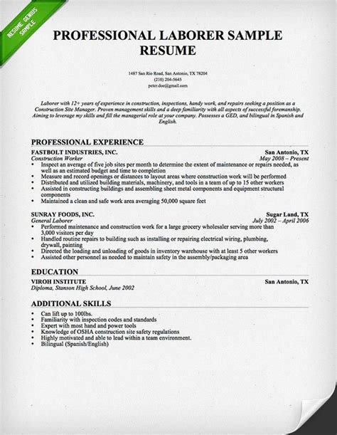Construction Worker Resume Sample  Resume Genius. Letter Of Resignation From Teaching Position Template. Whole House Remodel Calculator Template. Weekly Hourly Planner Template Excel Template. Warehouse Layout Template 296177. Label 10 Per Page Template. Medical Laboratory Technician Cover Letter Template. Invoice Form Free. What To Expect In A Second Interview Template
