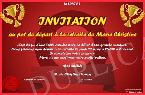 invitation au pot de depart a la retraite de christine