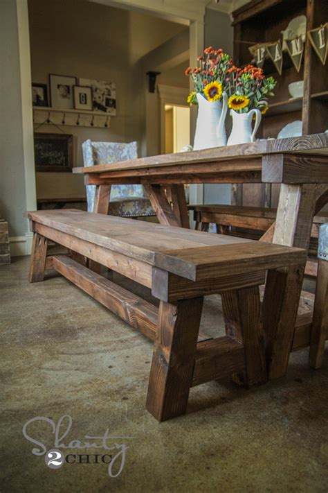 Diy $40 Bench For The Dining Table  Shanty 2 Chic