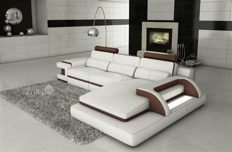 canap 233 d angle en cuir italien 6 places vinoti blanc et chocolat mobilier priv 233