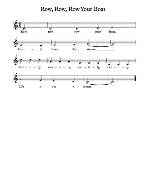 Sheet Music Row Your Boat by Free Vocal Sheet Music Row Row Row Your Boat Michael