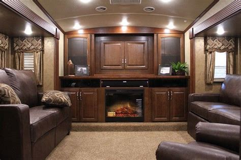 Front Living Room Fifth Wheel Toy Hauler Painting Ideas For Bathrooms Small Bathroom Wall Tile Design Tool Interior Glass Shelves With White And Gray Cottage