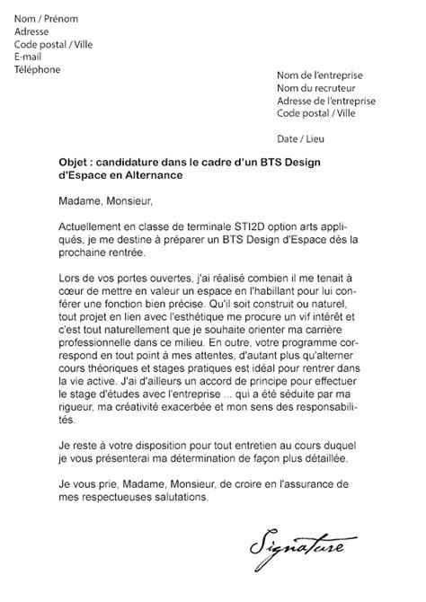 lettre de motivation bts design d espace alternance mod 232 le de lettre