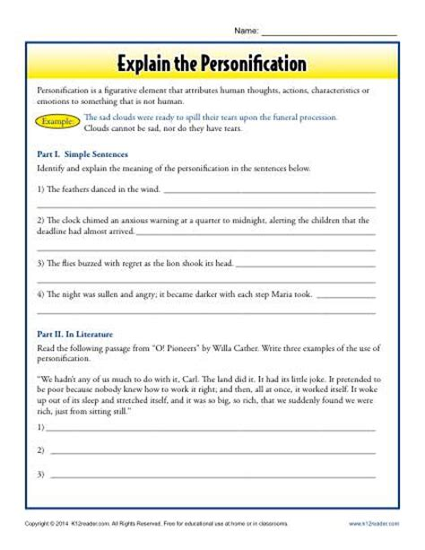Explain The Personification  Free Printable Worksheets, Printable Worksheets And Worksheets