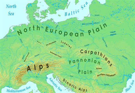 europe mountains map
