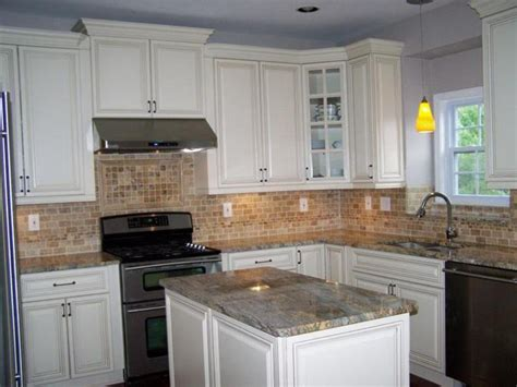 brown colored ceramic backsplash for classic kitchen decorating ideas with white cabinet with