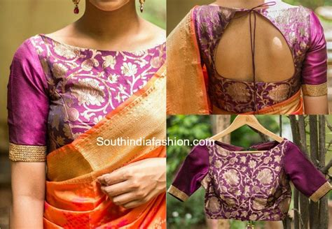 Boat Neck Readymade Blouses Online by 6 Beautiful Boat Neck Brocade Blouse Designs South India