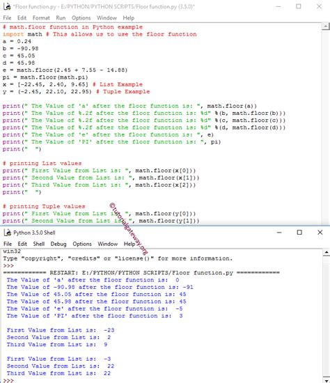 math floor function in python programming