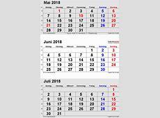 Kalender Juni 2018 als PDFVorlagen