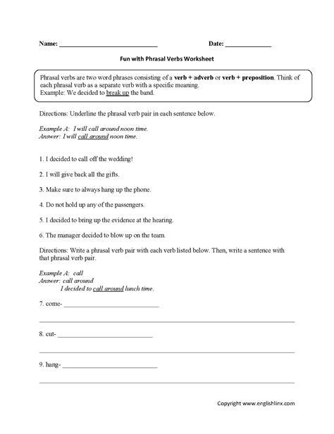 Verb Worksheets For Grade 3 Pdf  Worksheet Example