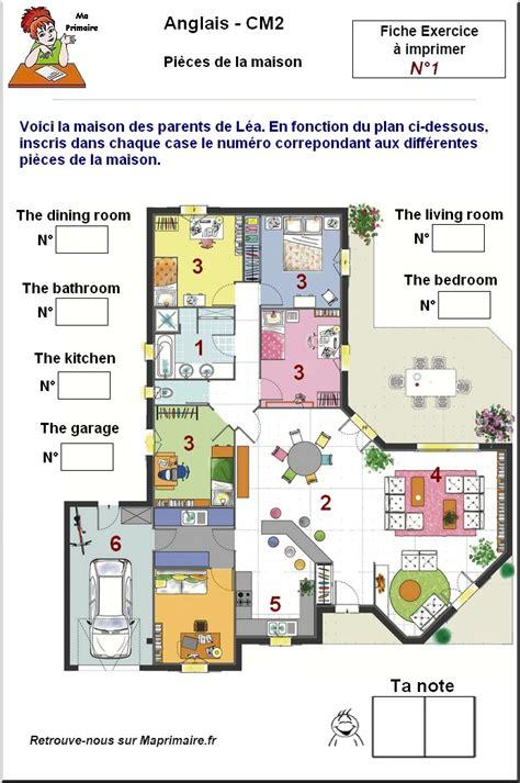pieces de la maison en anglais au cm2