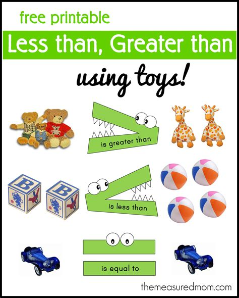 """""""less Than, Greater Than"""" Math Activity  Using Toys!  The Measured Mom"""