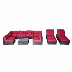 Lounge Sofa Outdoor : outsunny 9pc outdoor patio rattan wicker sofa sectional chaise lounge furniture set crimson ~ Markanthonyermac.com Haus und Dekorationen