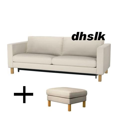 ikea karlstad sofa bed and footstool slipcovers sofabed ottoman covers linneryd beige