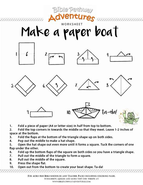 How To Make Paper Boat Download by Printable Bible Craft Make A Paper Boat Free Download