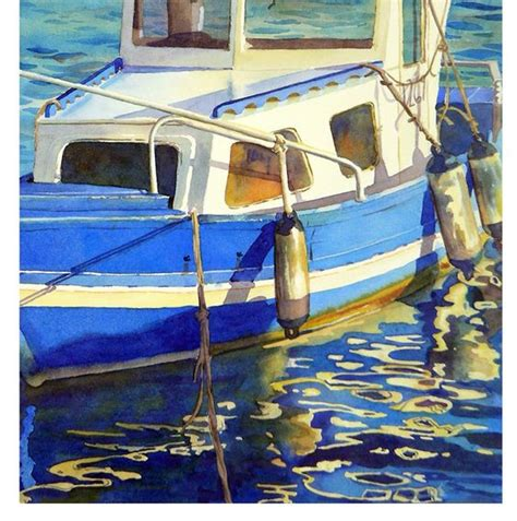 Boat In The Water In Spanish by Boat Art Print Watercolor Painting A Spanish Seascape
